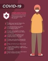 Covid 19 Virenpräventionstipps und Mann-Avatar mit Maskenvektor-Design