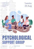 psykologiskt stöd grupp affisch platt vektor mall