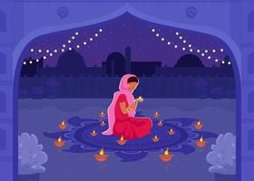 Frau im Sari beten flache Farbvektorillustration vektor