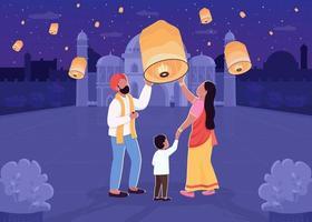 indisk lykta festival platt färg vektorillustration vektor
