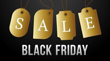 schwarzer Freitag Verkauf auf Goldpreisschild. Vektorsatz von realistischen isolierten leeren Preisschild-Gutscheinen für schwarzen Freitag-Verkauf für Dekoration und Bedeckung auf dem dunklen Hintergrund.