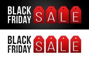 svart fredag försäljning marknadsföringsbanner eller affisch med röda etiketter platt vektorillustration vektor