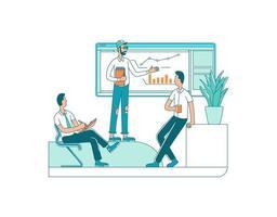 företagspresentation platt färg vektor ansiktslösa tecken