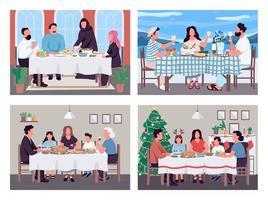 traditionella familjen middagar platt färg vektor illustration set