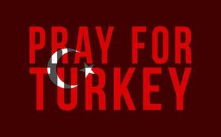 betet für die Türkei. Vektorillustration einer Karte der Türkei mit dem Text, der um Gebete wegen eines starken Erdbebens nahe Izmir am 30. Oktober bittet
