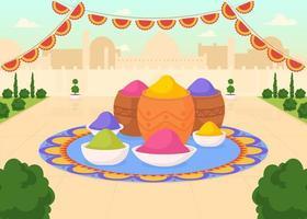 målar för holi fest platt färg vektorillustration