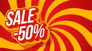 försäljning 50 av typografi vektorillustration. svart fredag försäljning på röd spiral hypnotisk optisk illusion virvel bakgrund. enkel grafisk vektorillustration. vektor