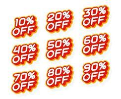 Verkaufsprozentsatz 10 20 30 aus und andere rote und gelbe Etikettenschablone mit 3d Typart lokalisiert auf weißem Hintergrundvektorillustration.