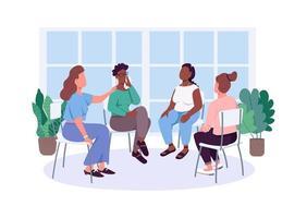 kvinnor socialt stöd grupp platt färg vektor ansiktslösa karaktärer