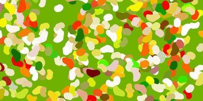hellgrüner, gelber Vektorhintergrund mit chaotischen Formen.