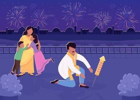 indische Familie mit flacher Farbvektorillustration des Feuerwerks vektor
