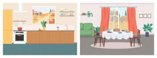 mysigt hem platt färg vektor illustration set