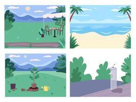 offentliga platser platt färg vektor illustration set