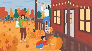 familj dekorera för halloween platt färg vektorillustration vektor
