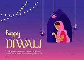 glad diwali banner platt vektor mall
