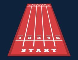 Perspektivischer Start und Ziel auf der Go-Kart-Strecke. Strassenmarkierungen vektor