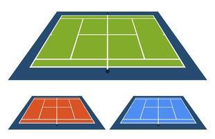 Vektor-Illustrationssatz des Tennisplatzes mit unterschiedlicher Oberfläche von der Seitenansicht von oben. vektor