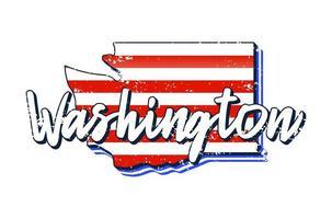 amerikanische Flagge in Washington State Map. Vektor-Grunge-Stil mit typografischer Hand gezeichneter Beschriftung Washington auf kartenförmiger alter amerikanischer Schmutz-Weinlese-Nationalflagge lokalisiert auf weißem Hintergrund vektor