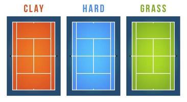 Vektorillustrationssatz des Tennisplatzes mit unterschiedlicher Oberfläche. Draufsicht. vektor