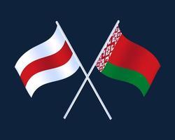zwei gekreuzte wehende Weißrusslandfahne auf lokalem dunklem Hintergrund. Weißrussland-Flaggenvektorillustration. Zwei gekreuzte wehende Weißrussland-Flagge auf lokalisiertem dunklem Hintergrund. belarussische Flagge Vektorillustration.
