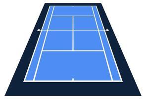 perspektivische Ansicht Vektorillustration des Tennisplatzes von der Vorderansicht. vektor