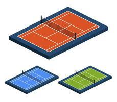 isometrischer perspektivischer Vektorillustrationssatz des Tennisplatzes mit unterschiedlicher Oberfläche von der Seitenoberansicht. vektor