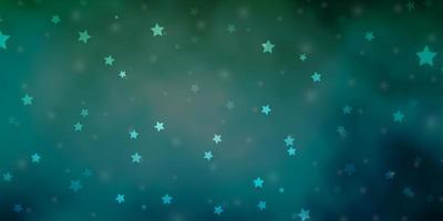 hellblaues, grünes Vektormuster mit abstrakten Sternen.