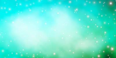 hellblaue, grüne Vektorschablone mit Neonsternen.