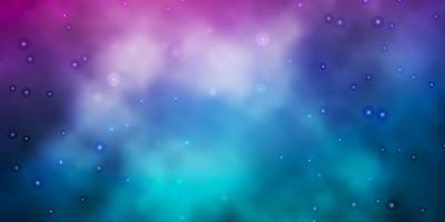 dunkelblauer, roter Vektorhintergrund mit bunten Sternen.