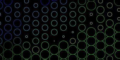 dunkelblaues, grünes Vektormuster mit Kugeln.