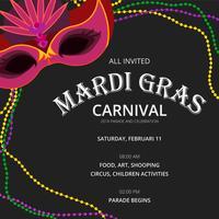 Mardi Gras Parade Inbjudningsmall vektor