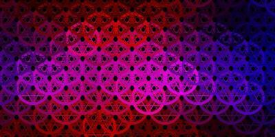 mörkblått, rött vektormönster med magiska element.