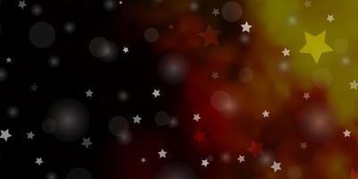 dunkelrote, gelbe Vektorschablone mit Kreisen, Sternen.