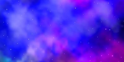 hellrosa, blaue Vektorschablone mit Neonsternen.
