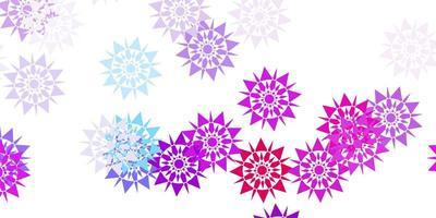 hellblaues, rotes Vektormuster mit farbigen Schneeflocken. vektor