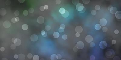 dunkelblaues, grünes Vektorlayout mit Kreisformen.