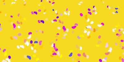 hellblaues, gelbes Vektormuster mit abstrakten Formen.