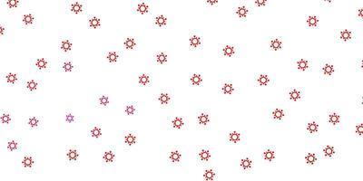 hellrosa, roter Vektorhintergrund mit Virensymbolen.