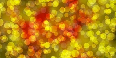 hellrosa, gelber Vektorhintergrund mit Blasen.