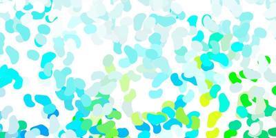 hellblaues, grünes Vektormuster mit abstrakten Formen.