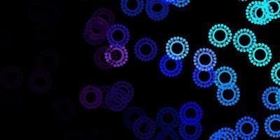 dunkelrosa, blauer Vektorhintergrund mit Virensymbolen