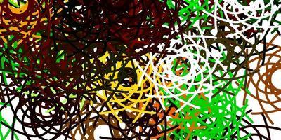 ljusgrön, gul vektorstruktur med memphis-former.
