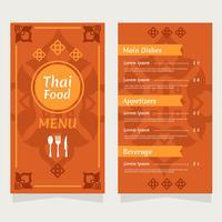 Thailand-Lebensmittel-Restaurant-Menü-Vektor vektor