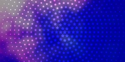 hellrosa, blauer Vektorhintergrund mit kleinen und großen Sternen.
