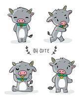 Nette Büffel-Charakter-Gekritzel-Vektor-Illustration vektor