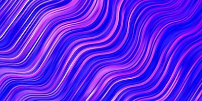 hellrosa, blaues Vektormuster mit gekrümmten Linien.
