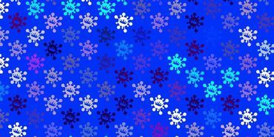 hellrosa, blauer Vektorhintergrund mit Virensymbolen