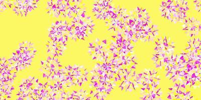 ljusrosa, gul vektor bakgrund med jul snöflingor.