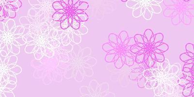 ljusrosa vektor doodle mönster med blommor.