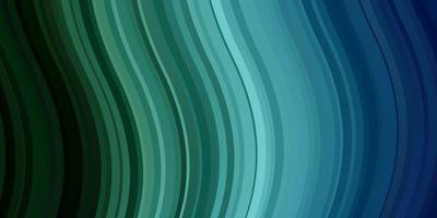 hellblauer, grüner Vektorhintergrund mit gekrümmten Linien. vektor